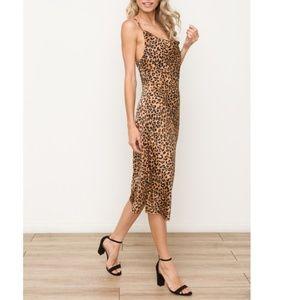 Cowl neck Midi length Slip Dress